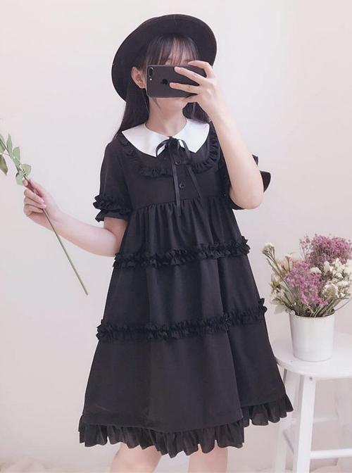 Black Cute Ruffles Sweet Lolita Short Sleeves Dress