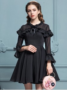 Black Chiffon Slim Stylish Gothic Lolita Long Sleeve Dress