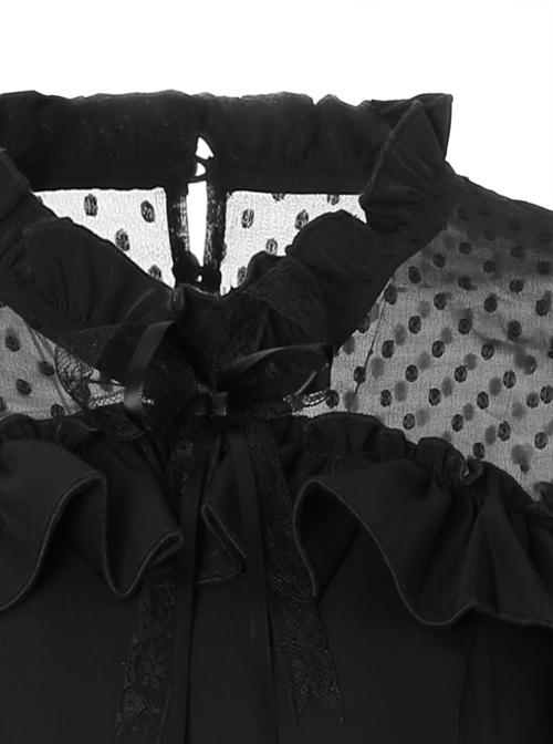 Black Chiffon Slim Stylish Gothic Lolita Long Sleeve Dress