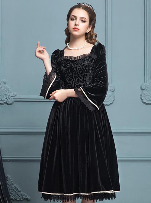 Black Velour Lace Edge Gothic Lolita Long Sleeve Dress