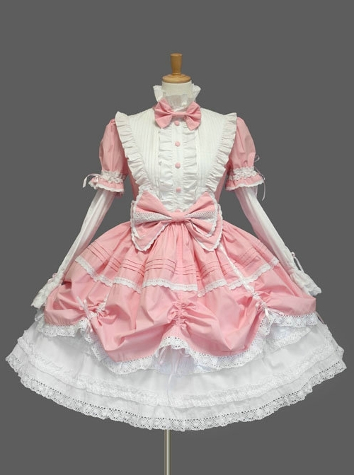 Pink And White Cute Bows Sweet Lolita Dress