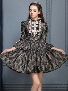 Black Lace Elegant Gothic Lolita Long Sleeves Dress