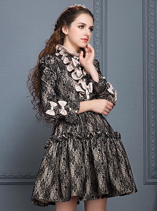 Black Lace Elegant Gothic Lolita Long Sleeves Dress