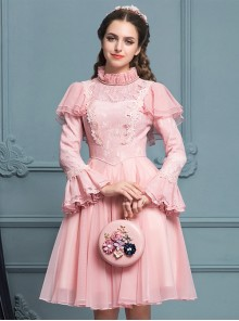 Palace Style Retro Pink Lace Classic Lolita Long Sleeve Dress