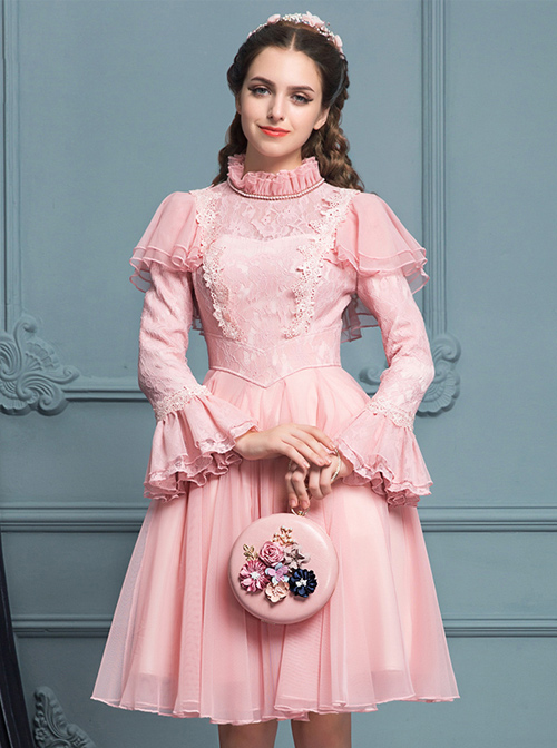 Palace Style Retro Pink Lace Classic Lolita Long Sleeve Dress