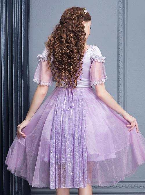 Purple Short Sleeves Lace Dream Classic Lolita Dress