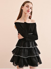 Black Off-shoulder Gothic Lolita Long Sleeve Dress