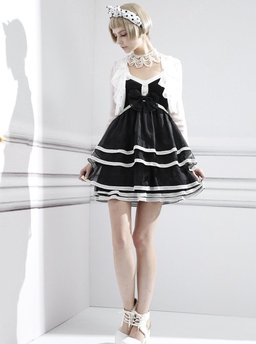 Fashion Contracted Black Bowknot Gothic Lolita Sling Dress