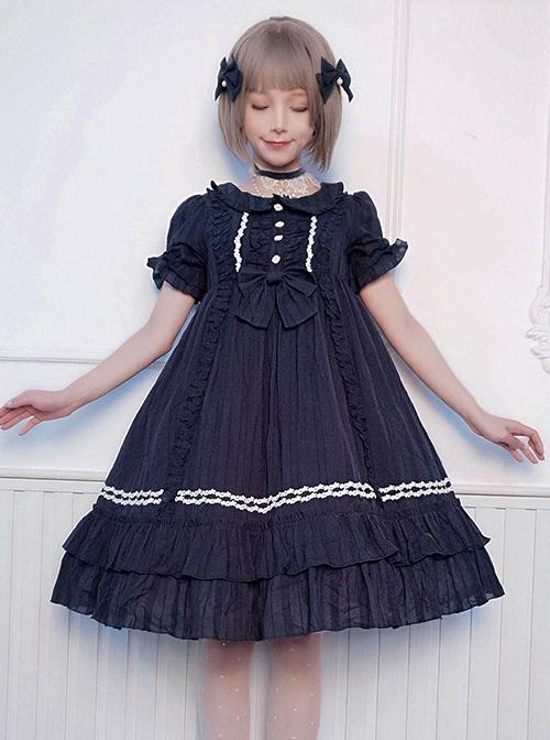 Pure Color Elegant Ruffles High Waist Short Sleeve Lolita Dress