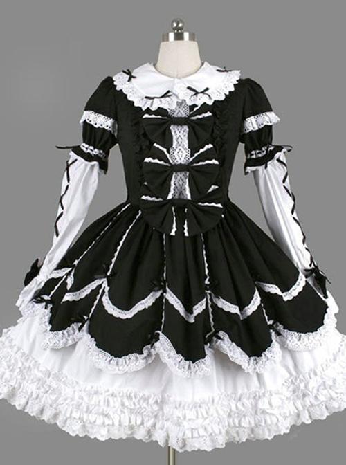 Black Bowknot Ruffles Gothic Lolita Long Sleeves Dress