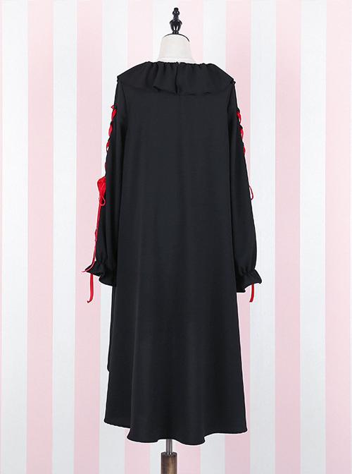 Black Bind Strap Bowknot Gothic Lolita Long Sleeve Dress