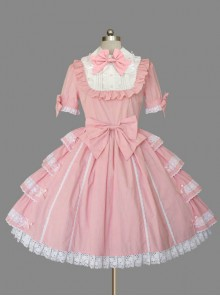 Pink Cotton Lapel Bowknot Sweet Lolita Short Sleeves Dress