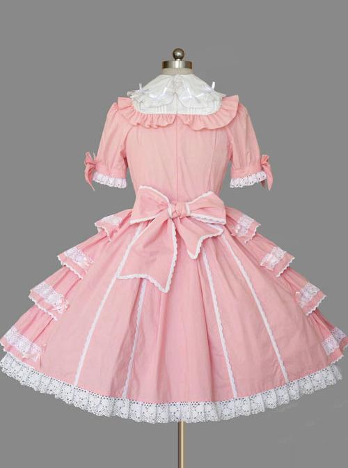 Pink Cotton Lapel Bowknot Sweet Lolita Short Sleeves Dress