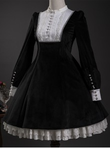Velour Long Sleeve Pearl Buttons Classic Lolita Dress