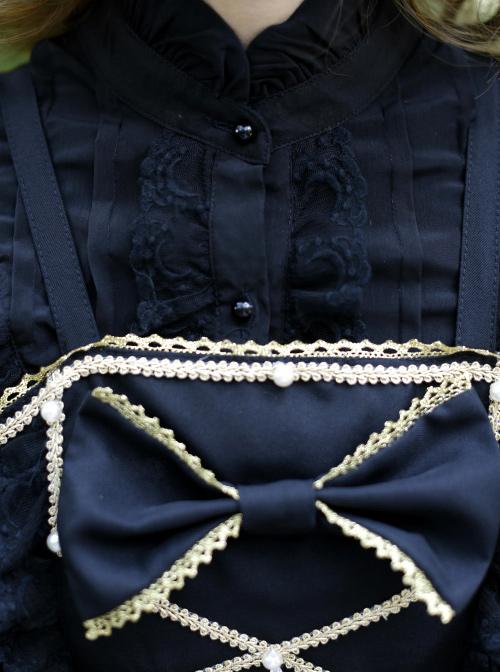 Black Bowknot Bind Straps Gothic Lolita Sling Dress