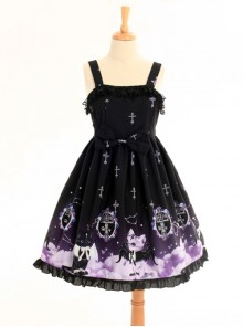 Gradient Cats Printing Sweet Lolita Sling Dress