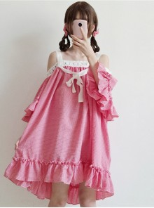 Off-shoulder Plaid Lace Sweet Lolita Dress