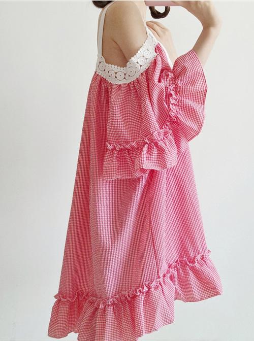 Off-shoulder Plaid Lace Sweet Lolita Dress
