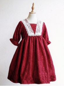 Wine Red Lace Lantern Short Sleeve Classic Lolita Dress