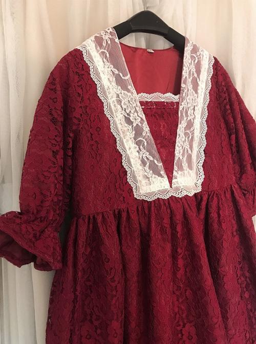 Wine Red Lace Lantern Short Sleeve Classic Lolita Dress