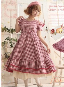 Red Plaid Bowknot Big Hem Classic Lolita Short Sleeve Dress