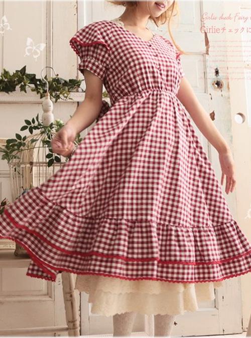 Red Plaid Bowknot Big Hem Classic Lolita Short Sleeve Dress