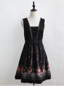 Flower Pattern Bind Straps Classic Lolita Sleeveless Dress
