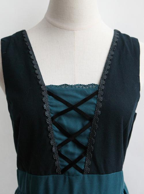 Flower Pattern Bind Straps Classic Lolita Sleeveless Dress