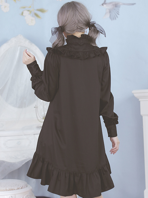Ruffles Long Sleeves Stand Collar Gothic Lolita Dress
