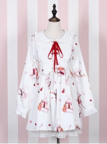 Musical Instrument Rabbit Printing Sweet Lolita Long Sleeve Dress