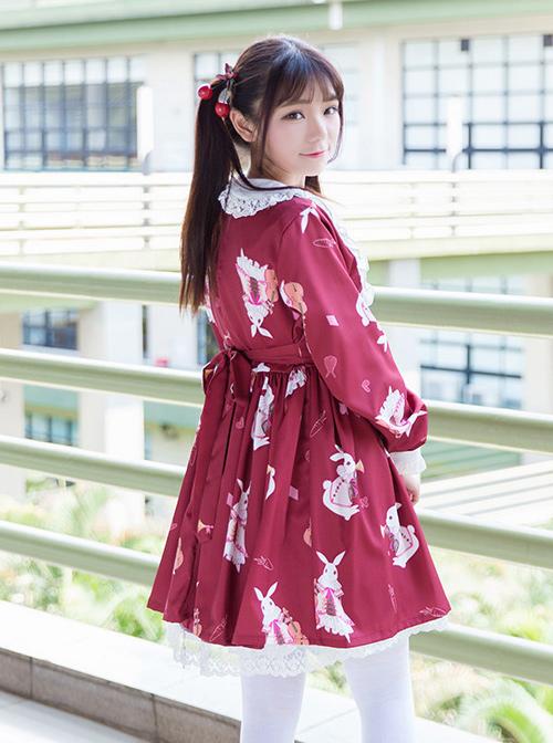 Musical Instrument Rabbit Printing Sweet Lolita Long Sleeve Dress