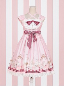 Afternoon Tea Printing Pink Sweet Lolita Sling Dress