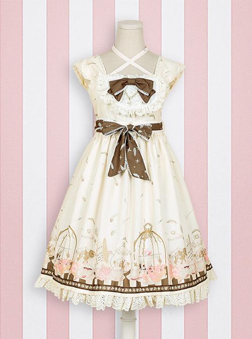 Afternoon Tea Printing Pink Sweet Lolita Sling Dress