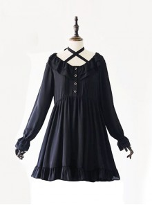 Black Chiffon Ruffles Gothic Lolita Long Sleeve Dress