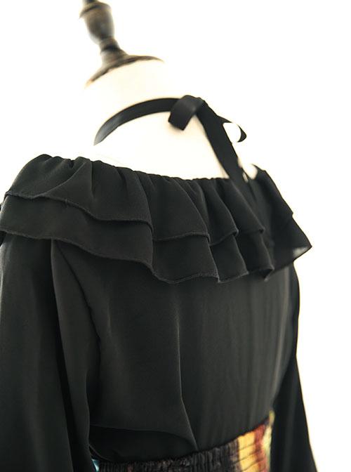 Black Chiffon Ruffles Gothic Lolita Long Sleeve Dress