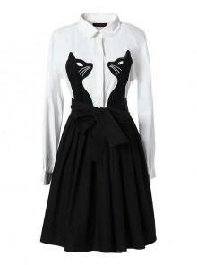 Black And White Cotton Long Sleeve Gothic Lolita Dress