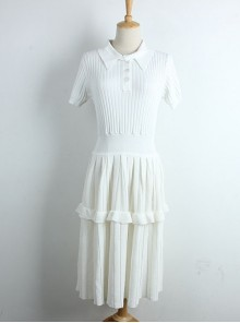 Ice Silk Knitted Ruffles Lapel Short Sleeve Classic Lolita Dress
