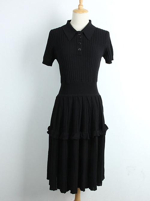 Ice Silk Knitted Ruffles Lapel Short Sleeve Classic Lolita Dress