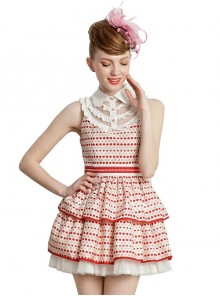 Red Wave Point Sleeveless Lapel Sweet Lolita Dress