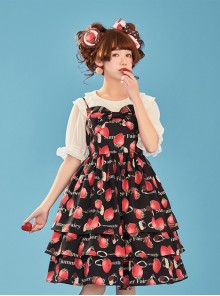 Choco Strawberry Printed Three-layer Hem Big Bowknot Classic Lolita Sling Dress