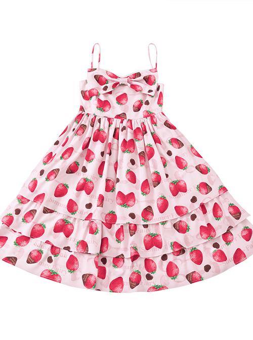 Choco Strawberry Printed Three-layer Hem Big Bowknot Classic Lolita Sling Dress