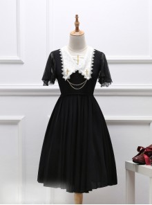 Black Short Sleeves Crucifix Embroidery Gothic Lolita Dress