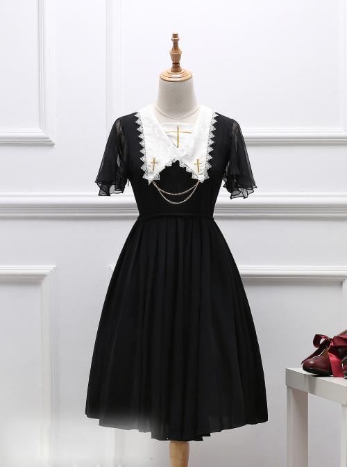 Black Short Sleeves Crucifix Gothic Lolita Dress