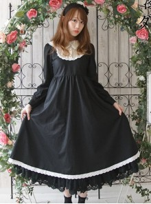 Black Corduroy Long Sleeve Classic Lolita Long Dress