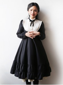 Black Cotton Classic Lolita Long Sleeve Dress