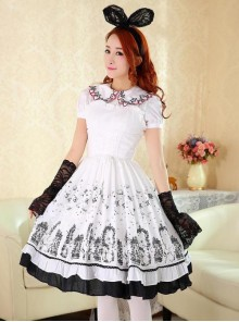 Cute Cats Printing Cotton Classic Lolita Sling Dress