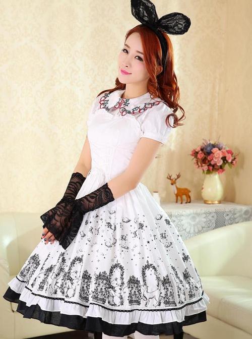 Cute Cats Printing Cotton Classic Lolita Sling Dress