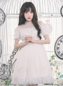 Off-shoulder Cross Bowknot Gothic Lolita Short Sleeve Dress