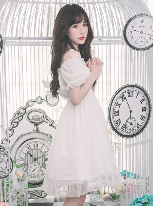 Off-shoulder Cross Bowknot Gothic Lolita Short Sleeve Dress