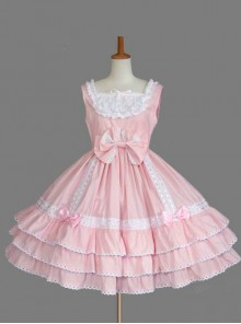 Pink Lace Bowknot Bind Strap Sweet Lolita Sling Dress